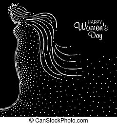 Pointillist abstract illustration of a Princess in celebration of International Womens Day