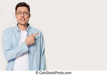 pointing, пространство, в стороне, волновался, человек, копия, пустой, glasses