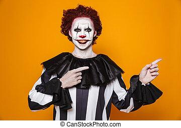 pointing, пространство, клоун, улыбается, копия, человек