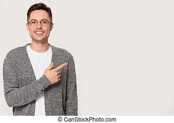pointing, пространство, isolated, glasses, улыбается, копия...