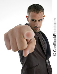 pointing american businessman
