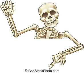 Pointing and Waving Cartoon Skeleton