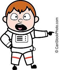 Pointing Astronaut Cartoon Illustration