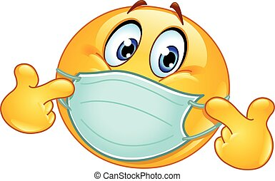 Pointing at himself emoticon with medical mask