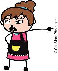 Pointing Beautician Cartoon Illustration