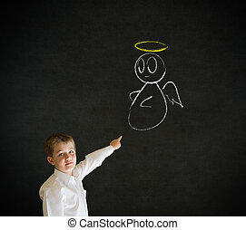 Pointing boy business man with chalk angel on shoulder