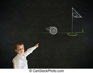 Pointing boy business man with chalk golf ball flag green