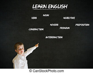 Pointing boy business man with learn English background -...