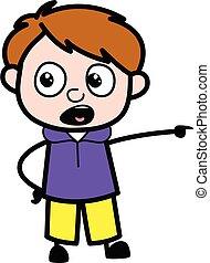 Pointing Boy Cartoon Illustration