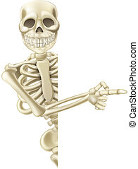 Illustration of a friendly pointing cartoon Halloween skeleton character
