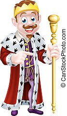 Pointing Cartoon King - King cartoon character wearing a...