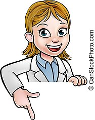 Pointing Cartoon Scientist Character Sign