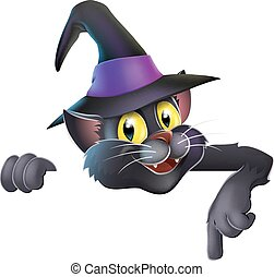 Pointing cartoon witchs cat - A happy cute Halloween black...
