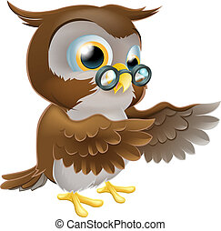 An illustration of a cute cartoon wise owl character pointing or showing something with both his wings