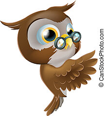 An illustration of a cute cartoon wise owl character with glasses peeking round from behind a sign and pointing or showing what it says