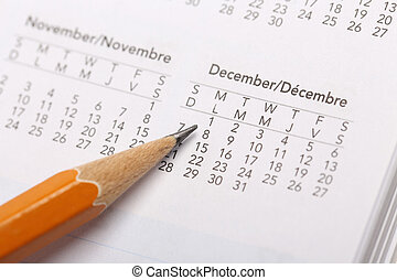 Pointing date on hot season month on calendar