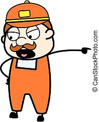 Pointing Delivery Man Cartoon Illustration