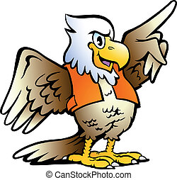 Pointing Eagle - Hand-drawn Vector illustration of an...