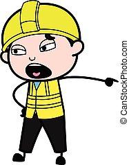 Pointing Engineer Cartoon Illustration