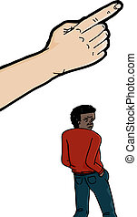 Pointing Finger Above Black Man