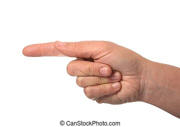 Pointing Finger - Female hand pointing with index finger...