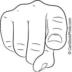 Pointing finger hand of monochrome vector illustration