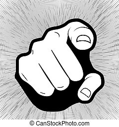 Pointing finger or hand pointing icon isolated on grey background