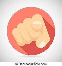 Pointing Finger Potential Client Politician Businesman Elected Icon Concept Flat Design Vector Illustration