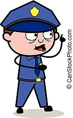 Pointing Finger - Retro Cop Policeman Vector Illustration