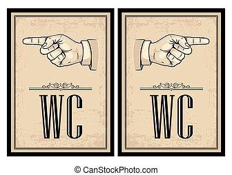 Pointing finger. Vector vintage illustration on beige...