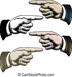 Pointing fingers - Set of vintage pointing fingers drawn in...