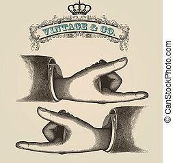 Pointing fingers, retro illustration