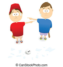 Pointing Fingers - Two boys blaming each other of smashing a...