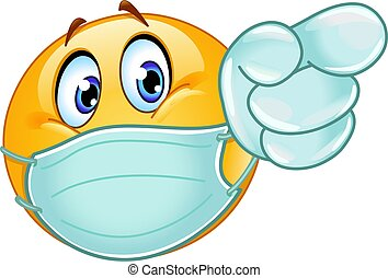 Pointing forward emoticon with medical mask and gloves