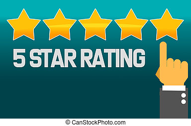 Pointing hand and five stars with 5 star rating