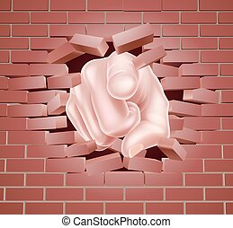 Pointing Hand Breaking Red Brick Wall