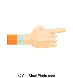 Pointing hand gesture icon, cartoon style