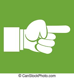 Pointing hand gesture icon green