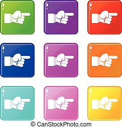 Pointing hand gesture icons 9 set