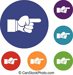 Pointing hand gesture icons set
