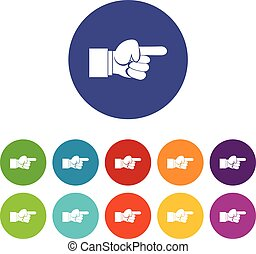 Pointing hand gesture set icons