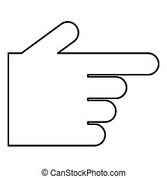 Pointing hand icon black color illustration flat style simple image