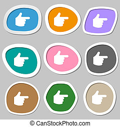 pointing hand icon symbols. Multicolored paper stickers.