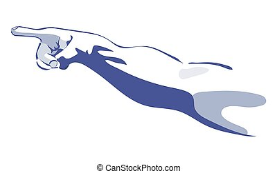 pointing hand sketch in blue colors