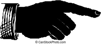 Pointing hand vector silhouette