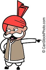 Pointing Haryanvi Old Man Cartoon Illustration