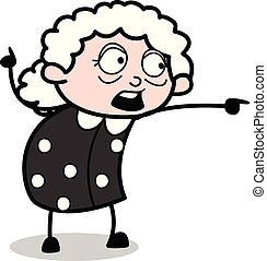 Pointing in Front - Old Cartoon Granny Vector Illustration