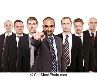 Pointing man in front of his team