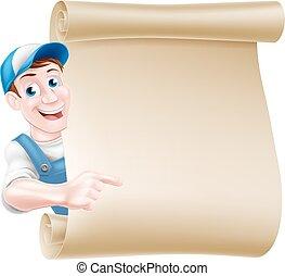Pointing man scroll