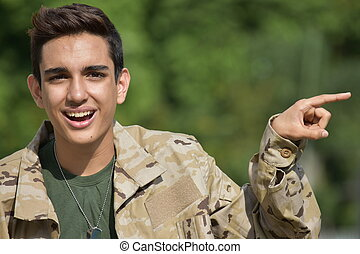 Pointing Military Male Soldier